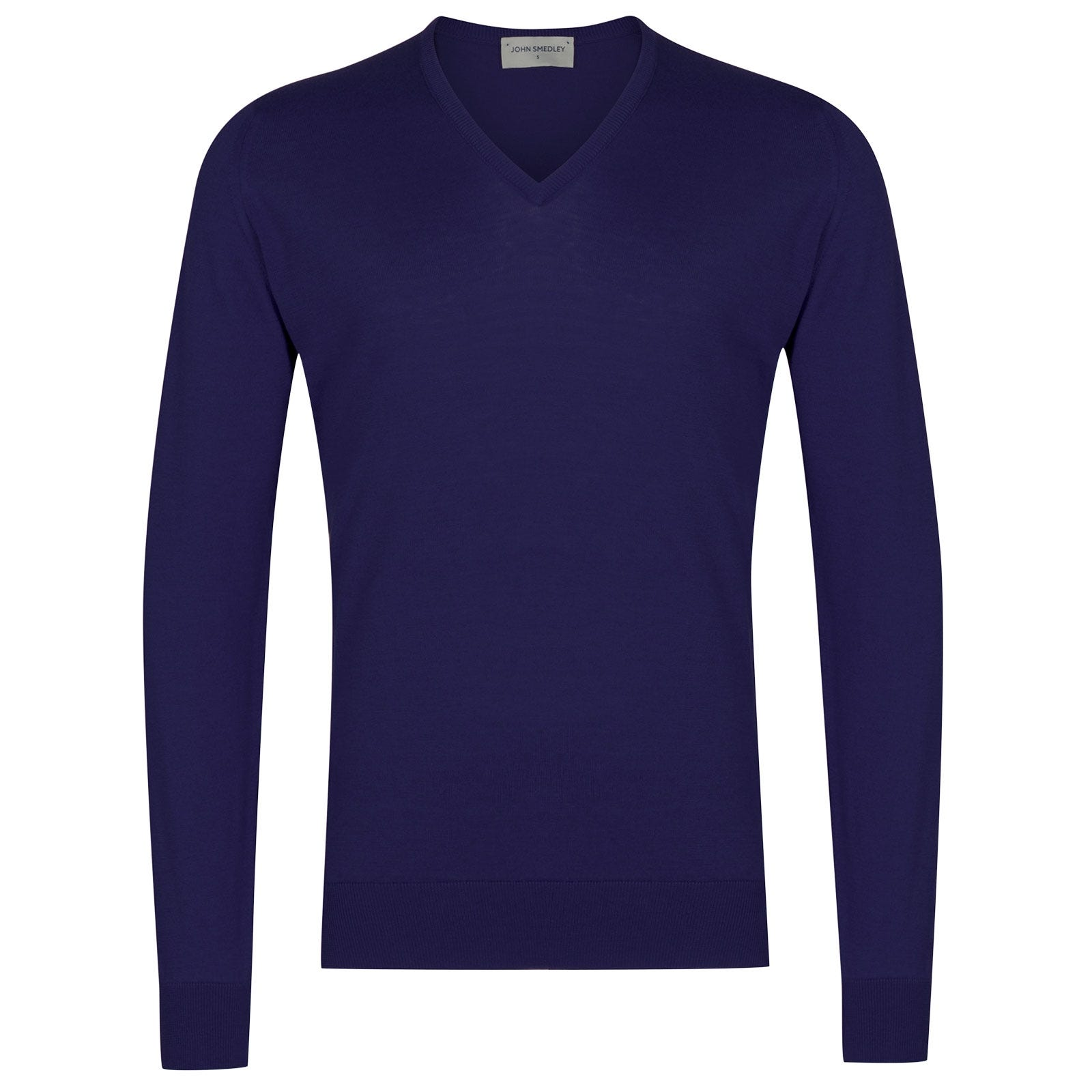 John Smedley Woburn Sea Island Cotton Pullover in Serge Blue-XL