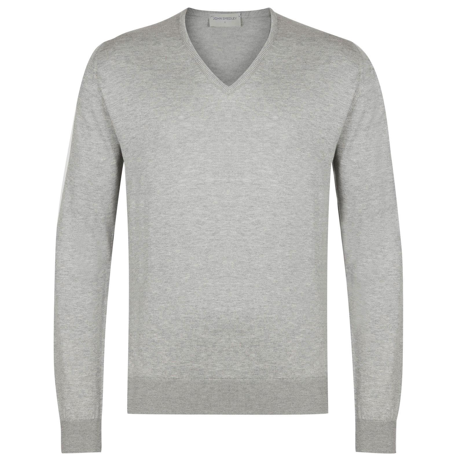John Smedley Woburn Sea Island Cotton Pullover in Silver-L