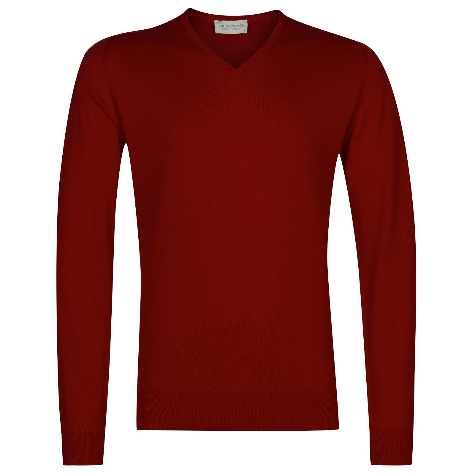 John Smedley Woburn Sea Island Cotton Pullover in Thermal Red-XL
