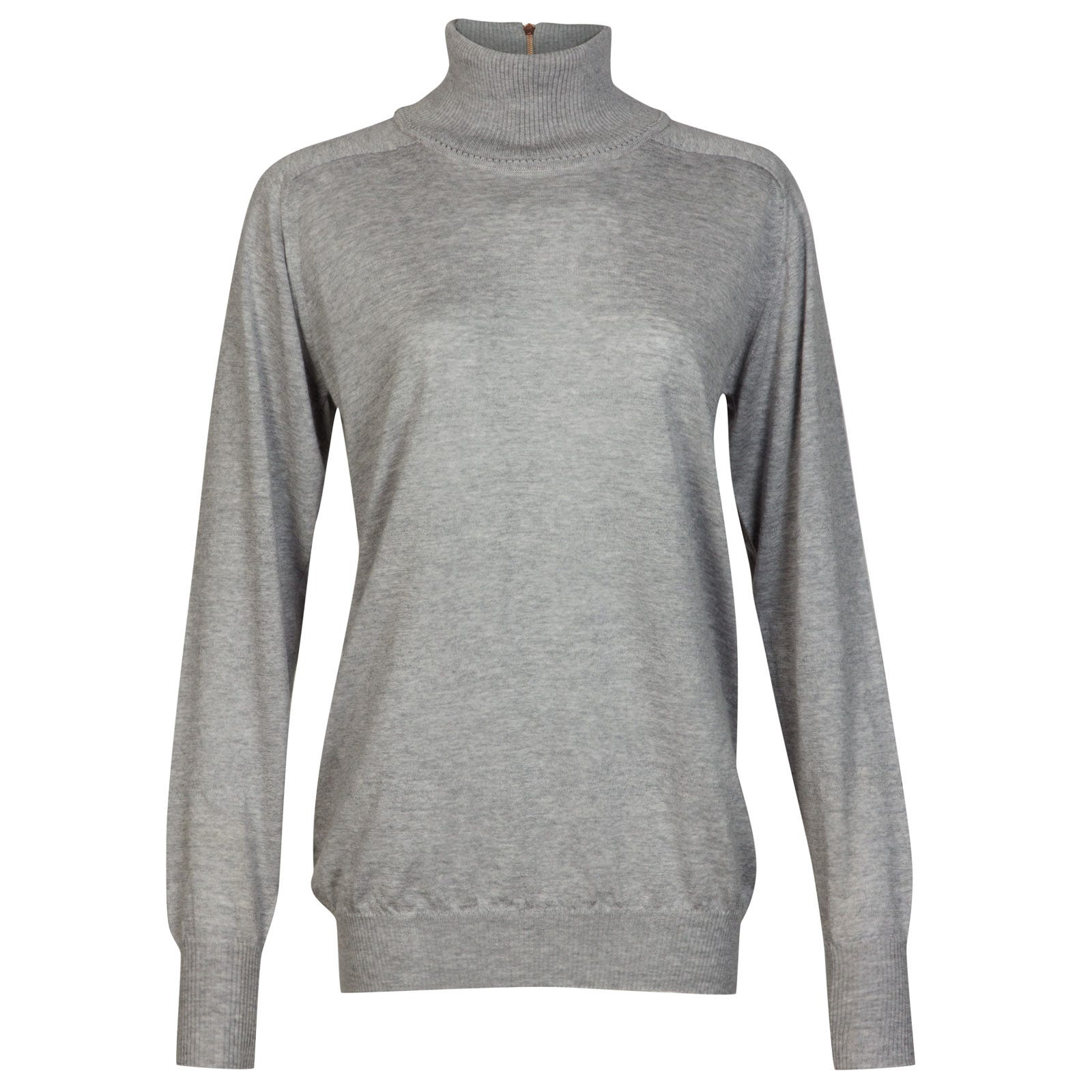 John Smedley woolf Merino Wool & Cashmere Sweater in Soft Grey-M